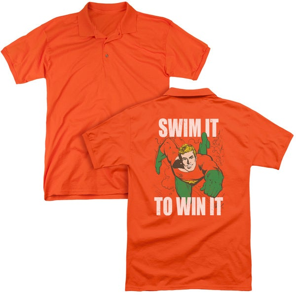 DC/Swim It (Back Print) Mens Regular Fit Polo in Orange