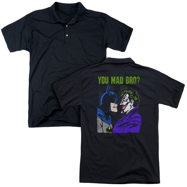 DC/Mad Bro (Back Print) Mens Regular Fit Polo in Black