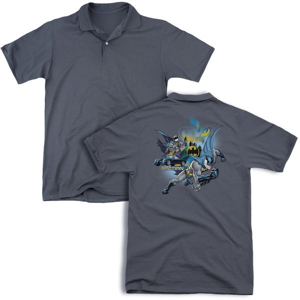 Batman/Call Of Duty (Back Print) Mens Regular Fit Polo in Charcoal
