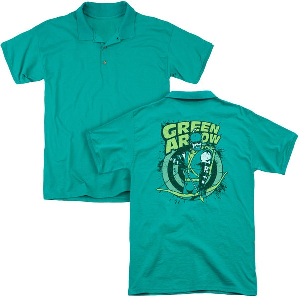 DC/On Target (Back Print) Mens Regular Fit Polo in Kelly Green