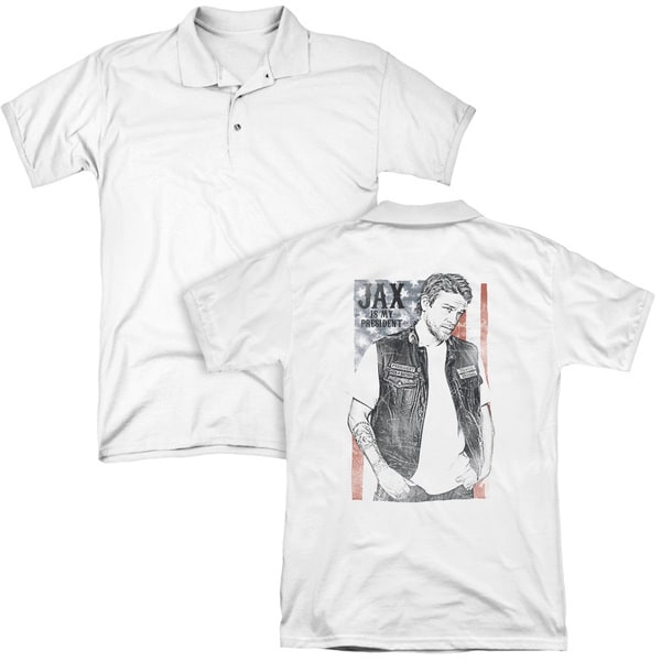 Sons Of Anarchy/Jax President (Back Print) Mens Regular Fit Polo in White