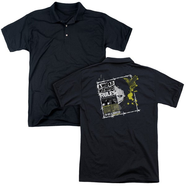 Dark Knight/World Without Rules (Back Print) Mens Regular Fit Polo in Black
