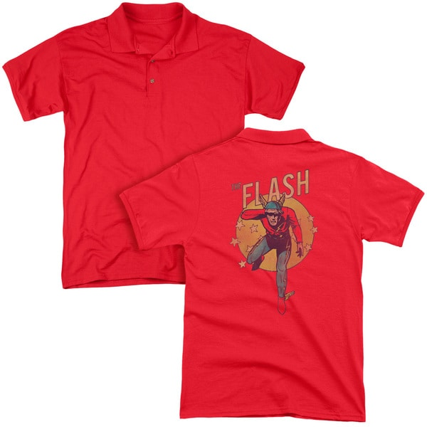 DC/Circle & Stars (Back Print) Mens Regular Fit Polo in Red