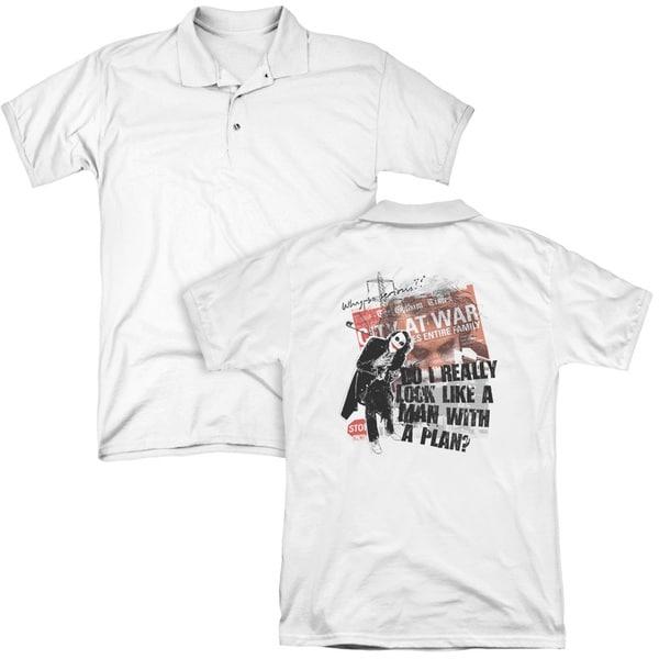 Dark Knight/Spontaneous (Back Print) Mens Regular Fit Polo in White