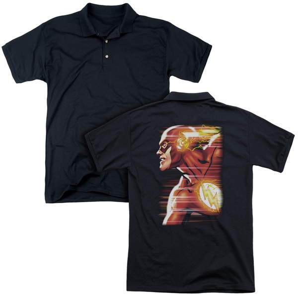 JLA/Speed Head (Back Print) Mens Regular Fit Polo in Black