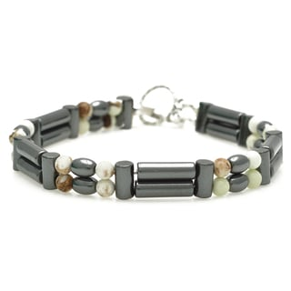 Healing Stones for You Hematite and Chrysoprase Double Power Bracelet 'Insomnia Relief'