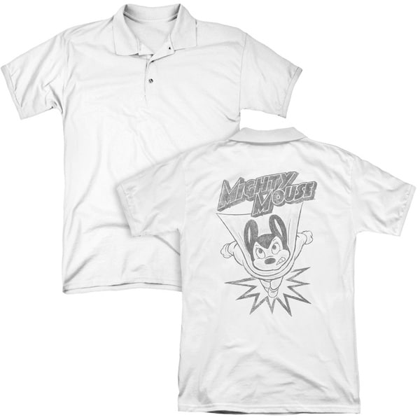 Mighty Mouse/Bursting Out (Back Print) Mens Regular Fit Polo in White