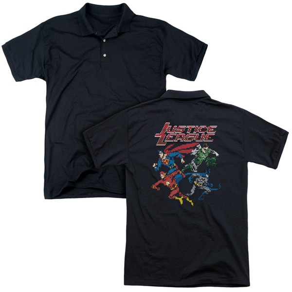JLA/Pixel League (Back Print) Mens Regular Fit Polo in Black