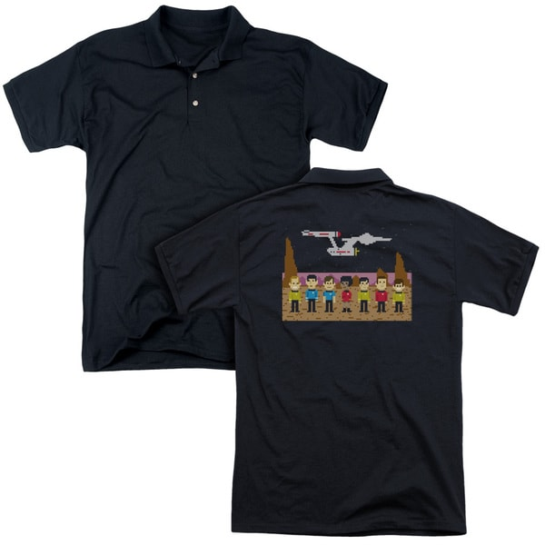 Star Trek/Tos Trexel Crew (Back Print) Mens Regular Fit Polo in Black