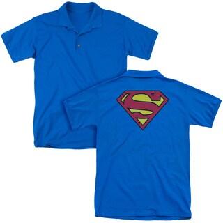 Superman/Classic Logo (Back Print) Mens Regular Fit Polo in Royal