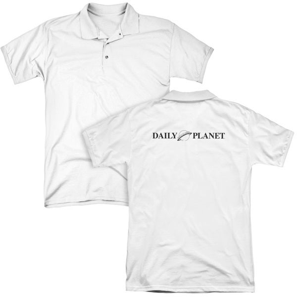 Superman/Daily Planet Logo (Back Print) Mens Regular Fit Polo in White