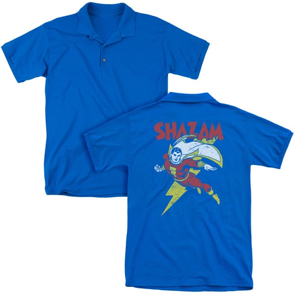 DC/Let's Fly (Back Print) Mens Regular Fit Polo in Royal