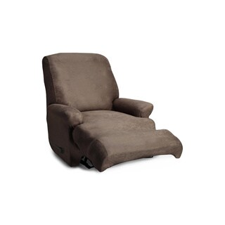 Coverworks Brown Polyester/Spandex Stretch Leather 1-piece Classic Recliner Slipcover