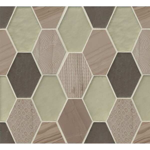 Retro Hexagon Pattern Mosaic Mohair Stone and Glass Tile (Box of 11 Sheets)