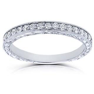 Annello 14k White Gold 1/3ct TDW Round Diamond Antique Wedding Band (G-H, I1-I2)