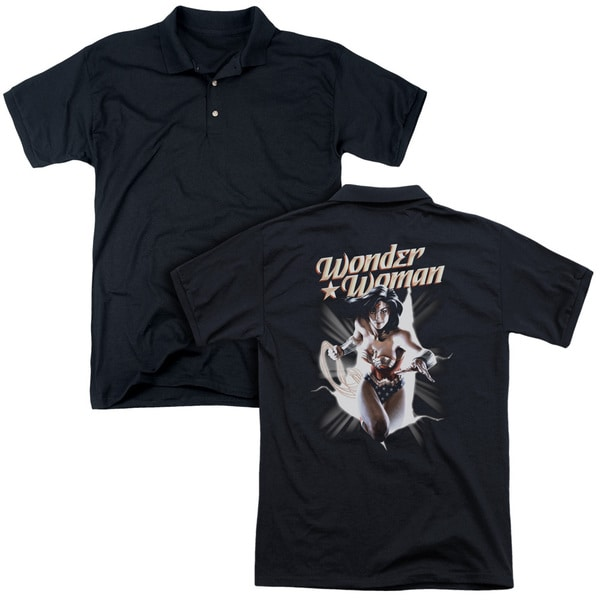 JLA/Ww Break Out (Back Print) Mens Regular Fit Polo in Black