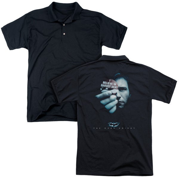 Dark Knight/Harvey Dent (Back Print) Mens Regular Fit Polo in Black