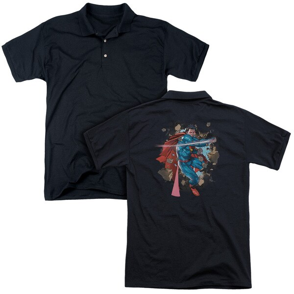 Superman/Rock Breaker (Back Print) Mens Regular Fit Polo in Black