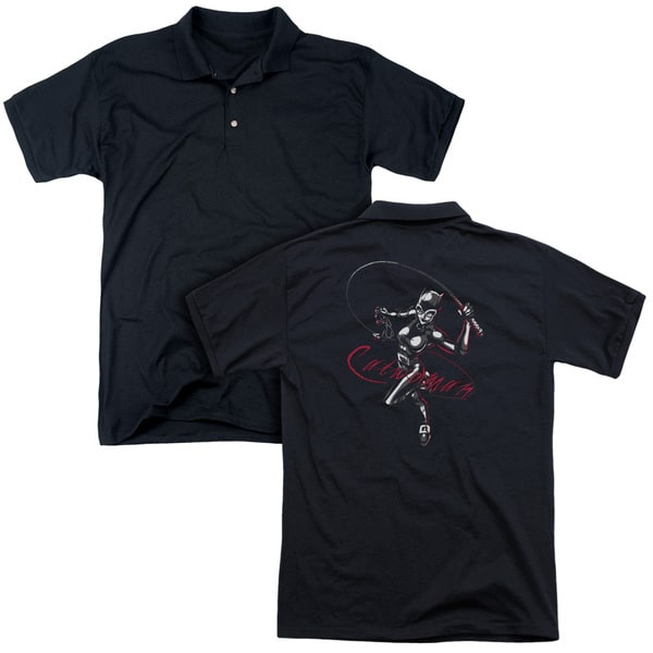 Batman/Kitten With A Whip (Back Print) Mens Regular Fit Polo in Black