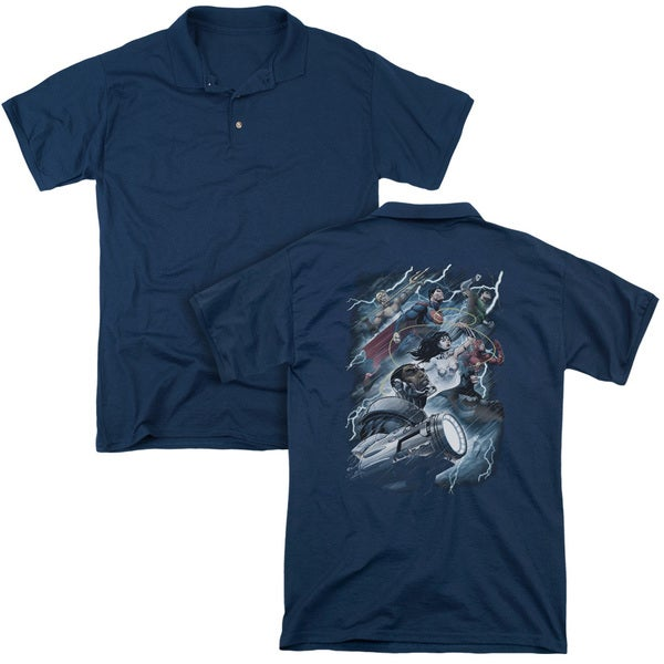 JLA/Ride The Lightening (Back Print) Mens Regular Fit Polo in Navy