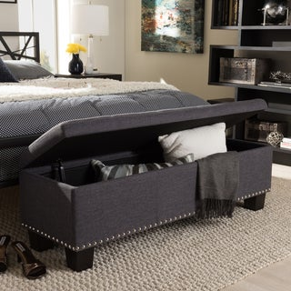 Baxton Studio Alekto Modern and Contemporary Dark Grey Fabric Upholstered Button-Tufting Storage Ottoman Bench