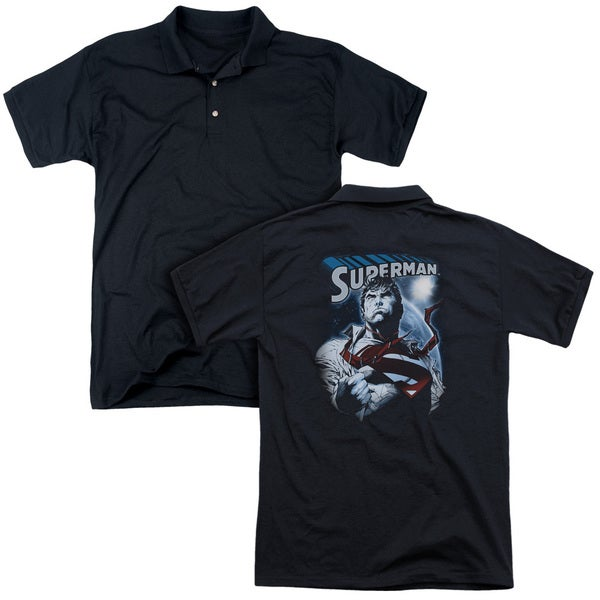 Superman/Protect Earth (Back Print) Mens Regular Fit Polo in Black
