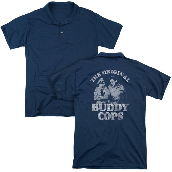 Andy Griffith/Buddy Cops (Back Print) Mens Regular Fit Polo in Navy