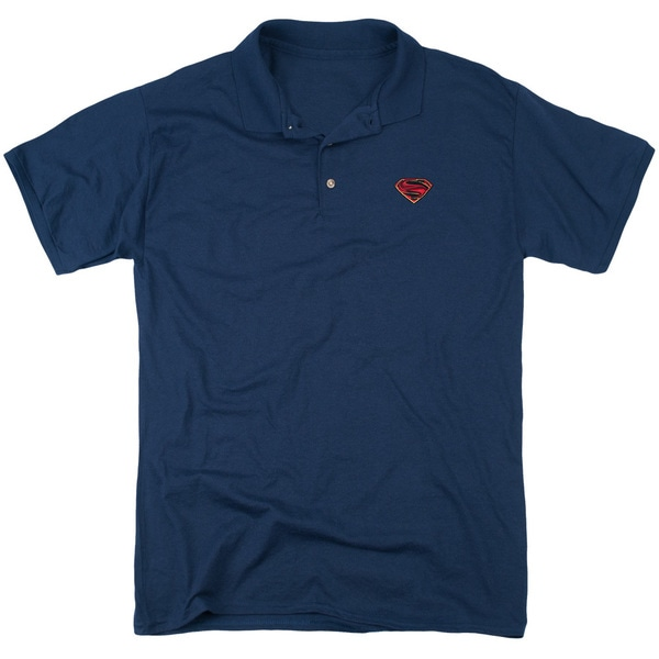 Man Of Steel/Embroidered Mos Mens Regular Fit Polo in Navy