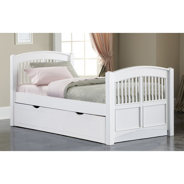 Walnut Street White Wood Twin Hayden Bed with Trundle