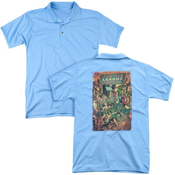 JLA/No 212 Vintage (Back Print) Mens Regular Fit Polo in Carolina Blue