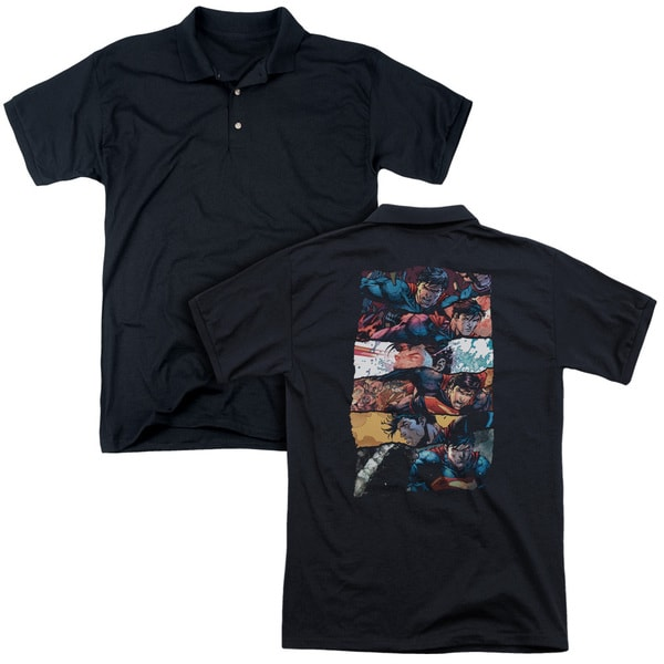 Superman/Torn Collage (Back Print) Mens Regular Fit Polo in Black