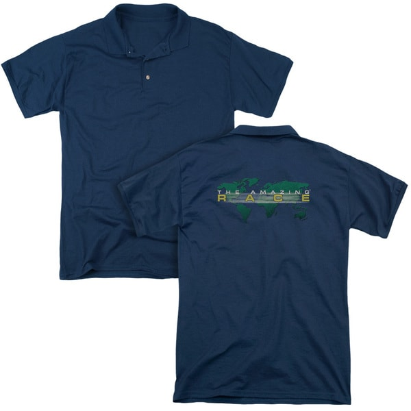 Amazing Race/Around The World (Back Print) Mens Regular Fit Polo in Navy