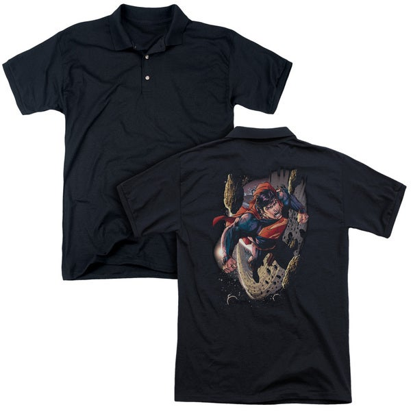 Superman/Orbit (Back Print) Mens Regular Fit Polo in Black