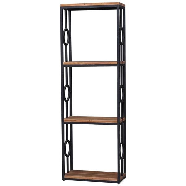 Bramble Co. Urban 4-tier Midnight/ Driftwood Metal-Wood Bookcase