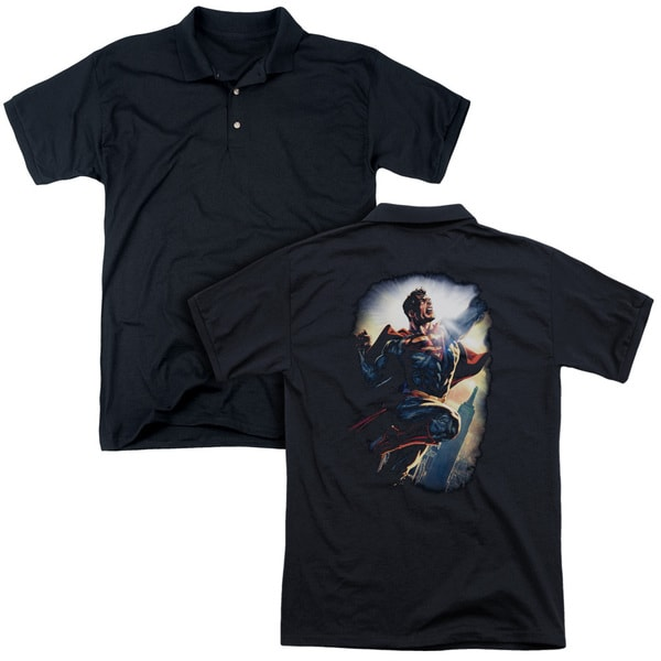 Superman/Ck Superstar (Back Print) Mens Regular Fit Polo in Black