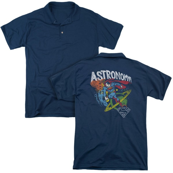 DC/Astronomy (Back Print) Mens Regular Fit Polo in Navy