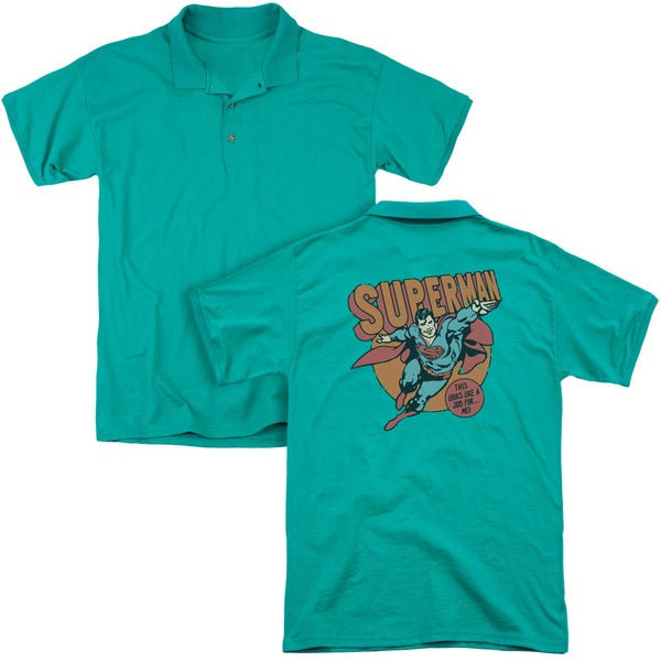 DC/Job For Me (Back Print) Mens Regular Fit Polo in Kelly Green