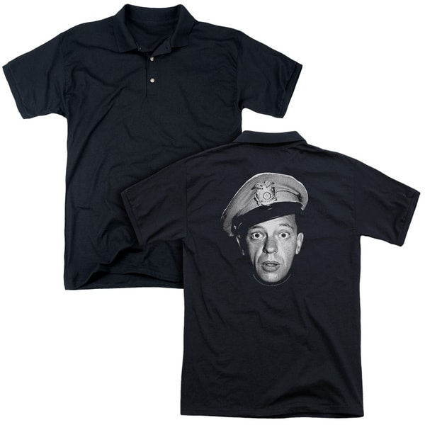 Andy Griffith/Barney Head (Back Print) Mens Regular Fit Polo in Black