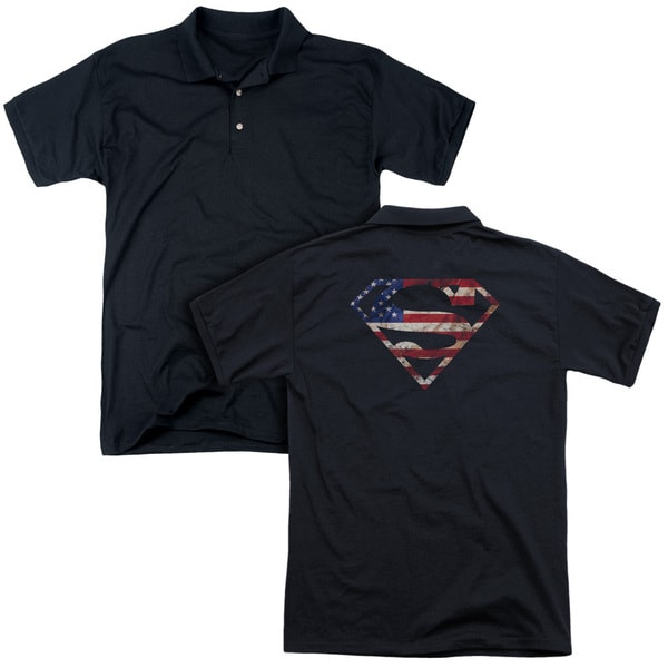 Superman/Super Patriot (Back Print) Mens Regular Fit Polo in Black