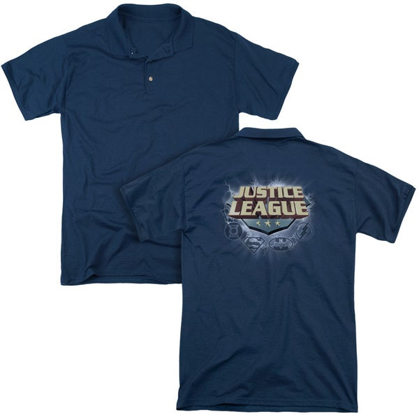 JLA/Storm Logo (Back Print) Mens Regular Fit Polo in Navy Md - Navy Md