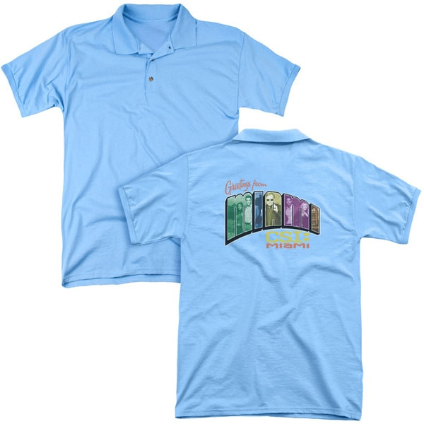 CSI Miami/Greeting From Miami (Back Print) Mens Regular Fit Polo in Carolina Blue