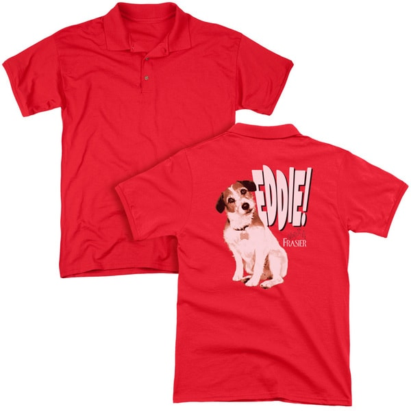 Frasier/Eddie (Back Print) Mens Regular Fit Polo in Red