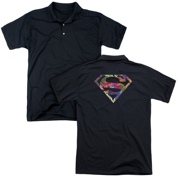 Superman/Hawaiian Shield (Back Print) Mens Regular Fit Polo in Black