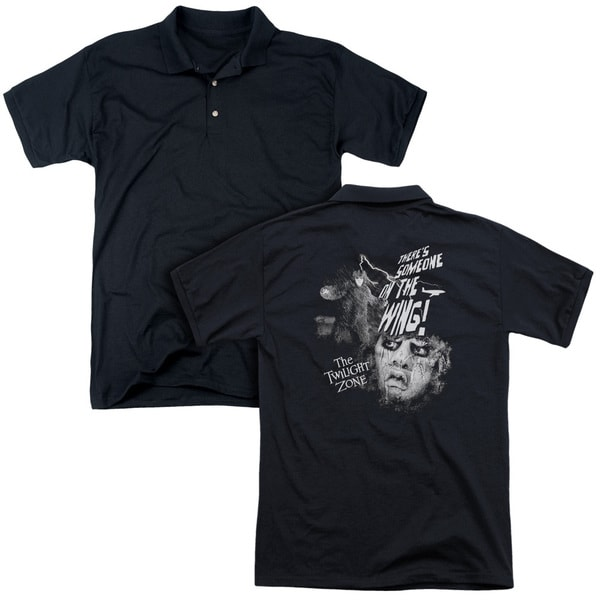 Twilight Zone/Someone On The Wing (Back Print) Mens Regular Fit Polo in Black