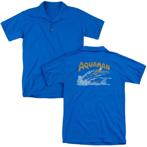 DC/Aqua Swim (Back Print) Mens Regular Fit Polo in Royal
