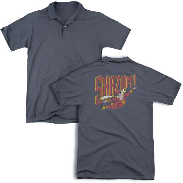 DC/Retro Marvel (Back Print) Mens Regular Fit Polo in Charcoal