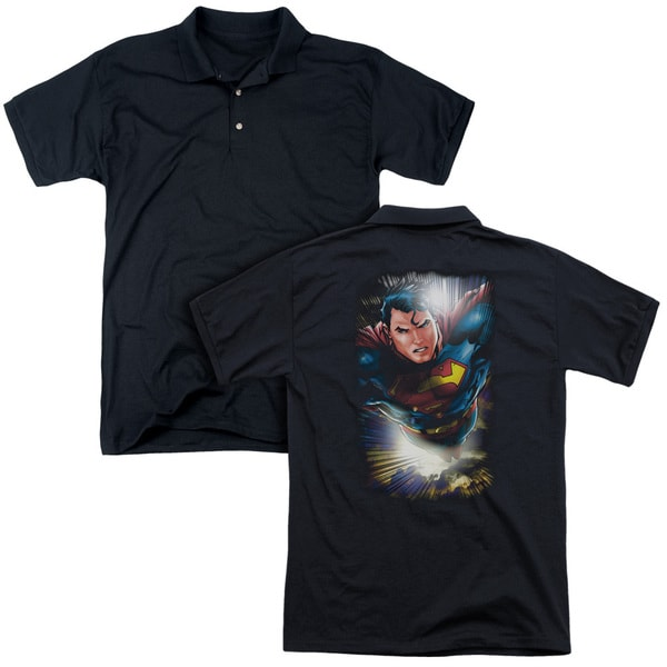 Superman/In The Sky (Back Print) Mens Regular Fit Polo in Black