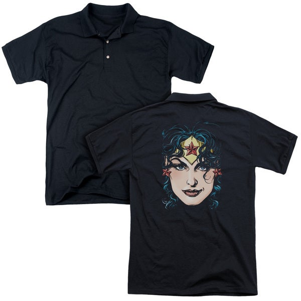 DCO JLA/Wonder Woman Head (Back Print) Mens Regular Fit Polo in Black