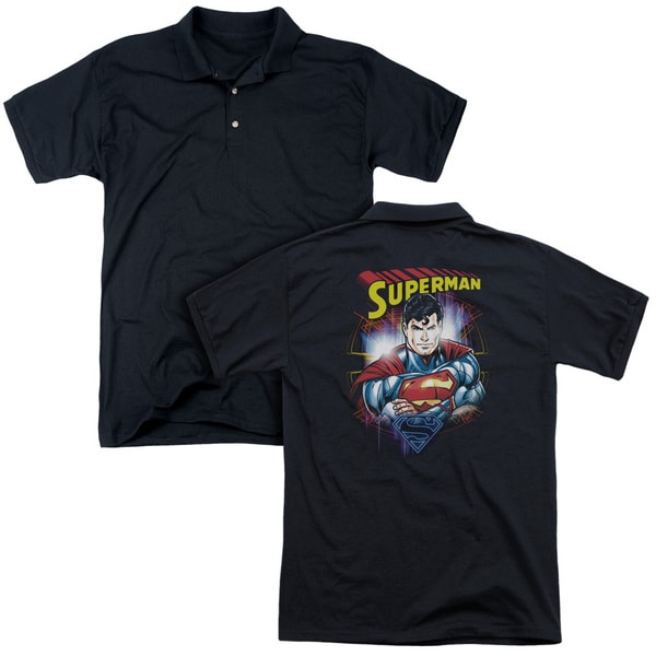 Superman/Glam (Back Print) Mens Regular Fit Polo in Black