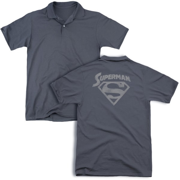 Superman/Super Arch (Back Print) Mens Regular Fit Polo in Charcoal